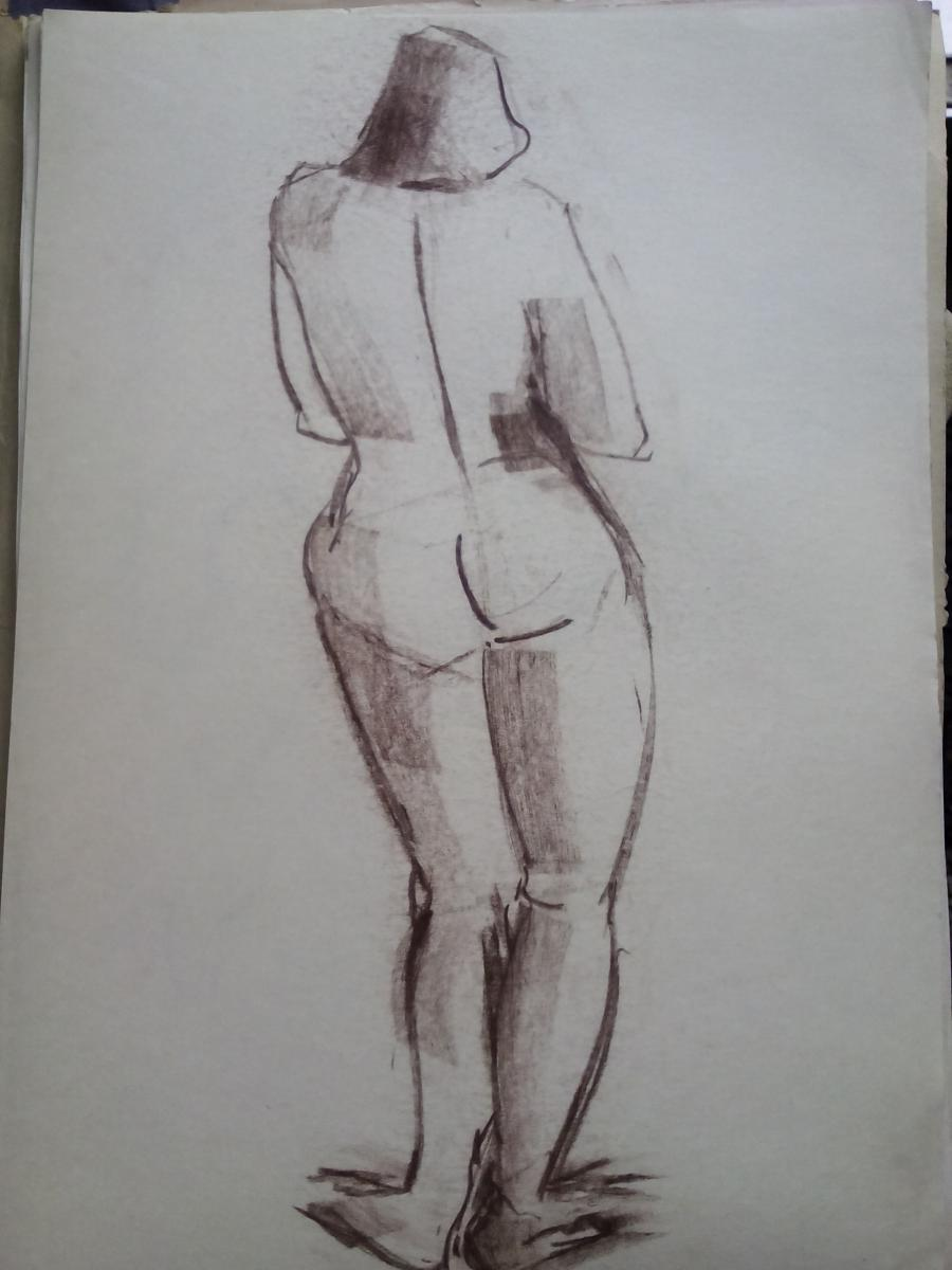 Picturi in creion / carbune st 12 anii 70