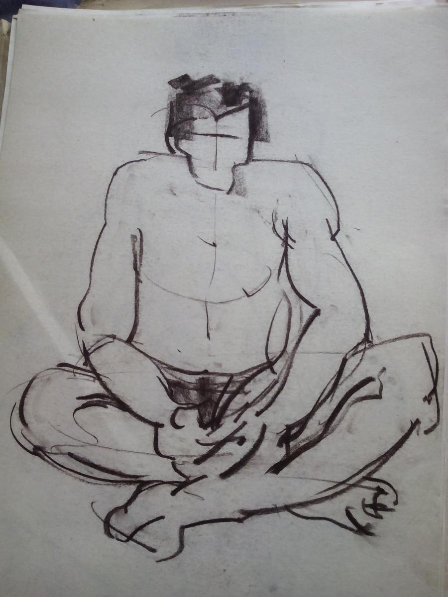 Picturi in creion / carbune st 13 anii 70