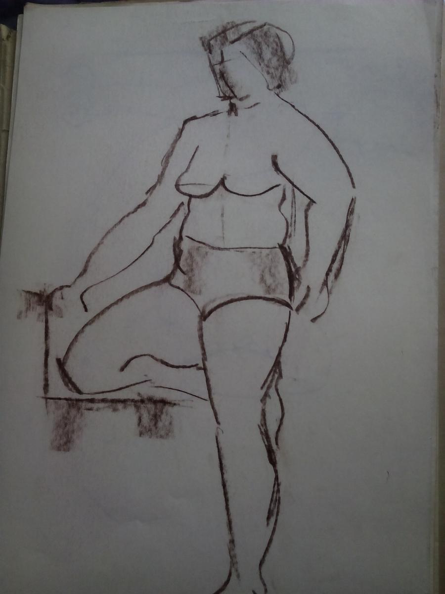 Picturi in creion / carbune st 22 anii 70