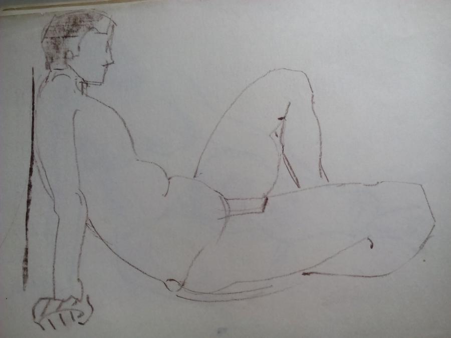 Picturi in creion / carbune st 23 anii 70