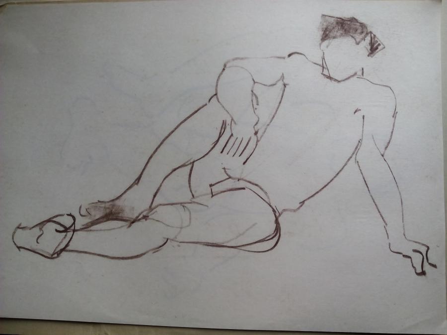 Picturi in creion / carbune st 25 anii 70