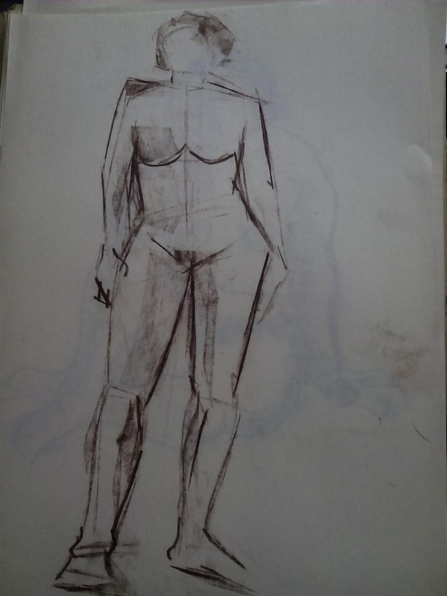 Picturi in creion / carbune st 6 anii 70