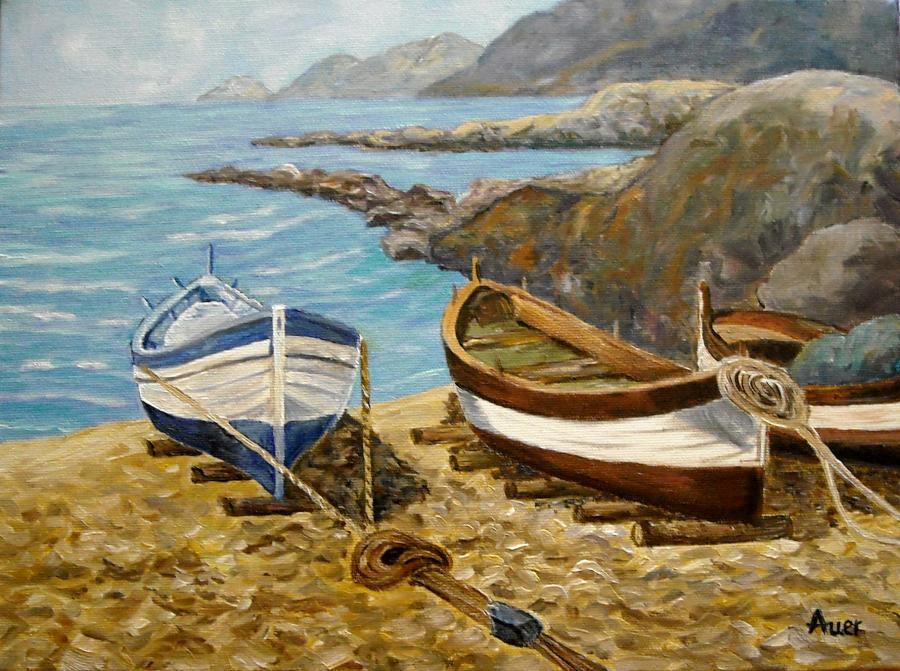 Picturi maritime navale Barci pe nisip -