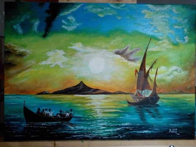 Picturi maritime navale O mare linistita