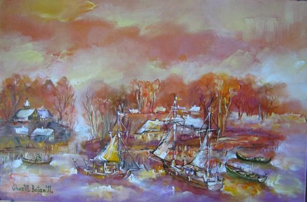 Picturi maritime navale Corabii toamna ulei pe carton