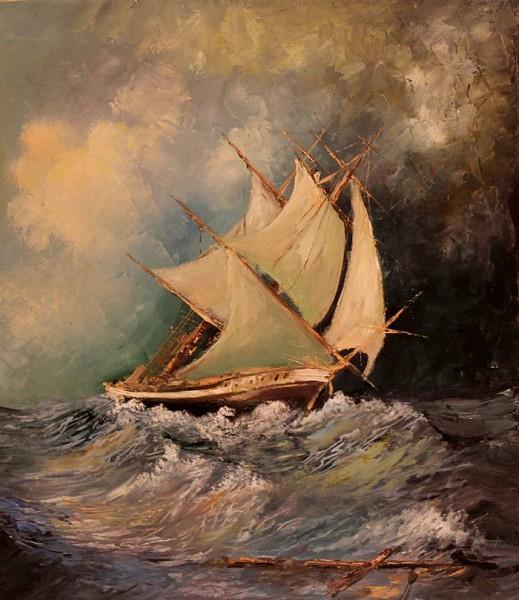 Picturi maritime navale Furtuna pe mare