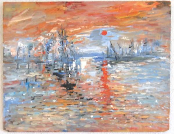 Picturi maritime navale Impresie, rasarit de soare