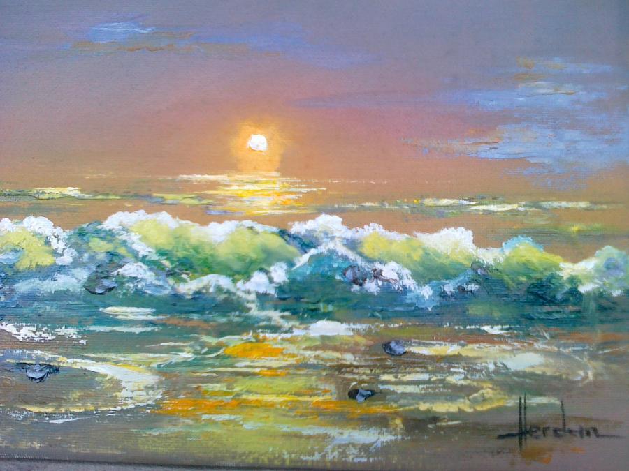 Picturi maritime navale apus pe mare