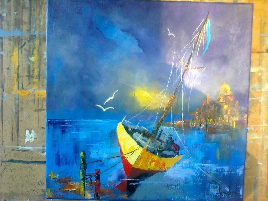 Picturi maritime navale BARCA LA TARM