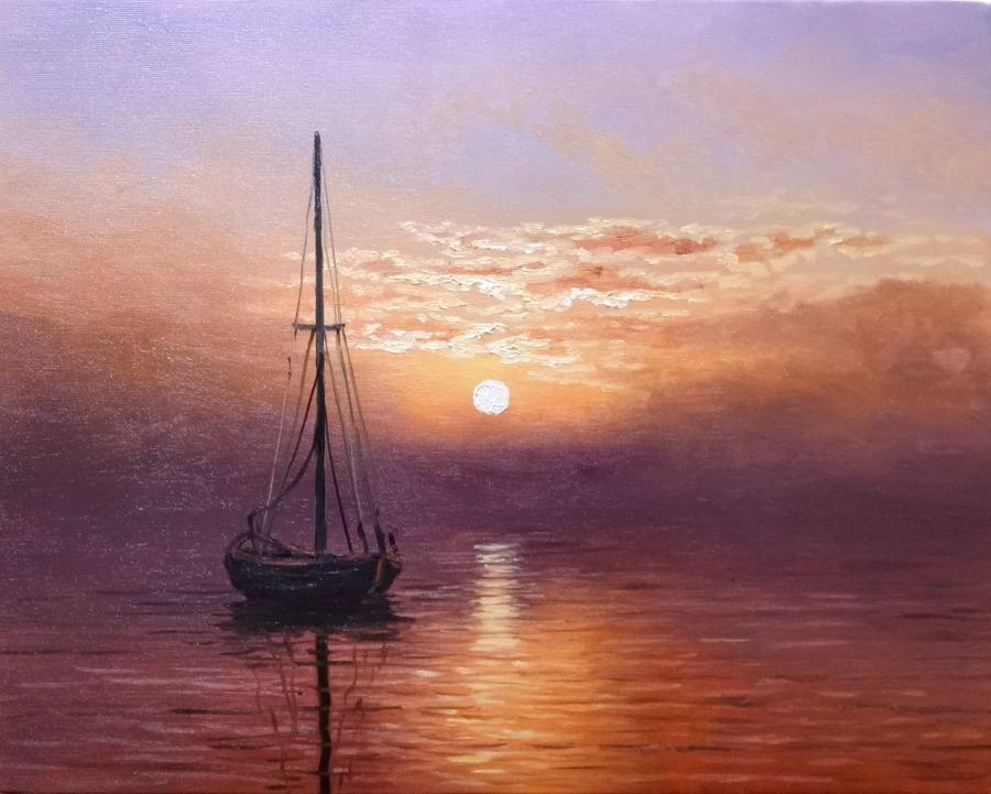 Picturi maritime navale soare prin negura