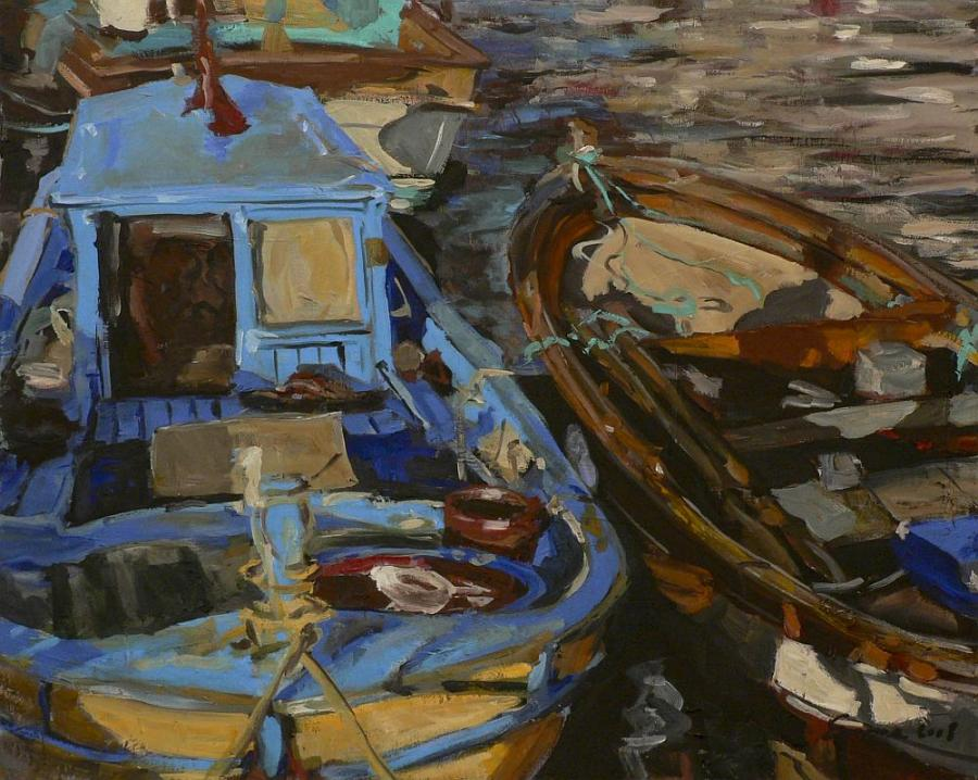 Picturi maritime navale Doua barci
