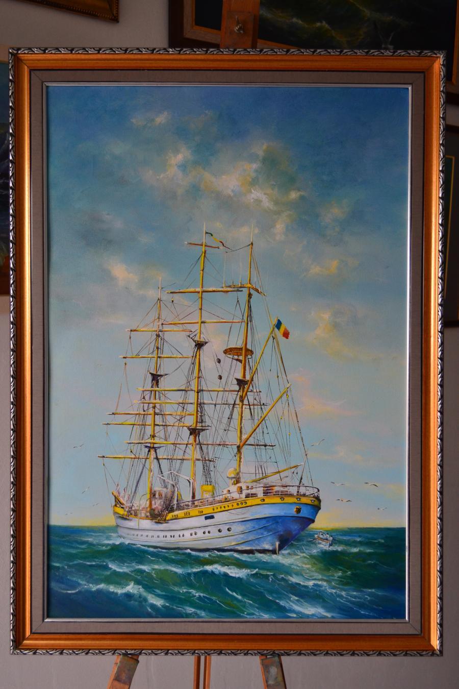 Picturi maritime navale Bricul  Mircea nava scoala