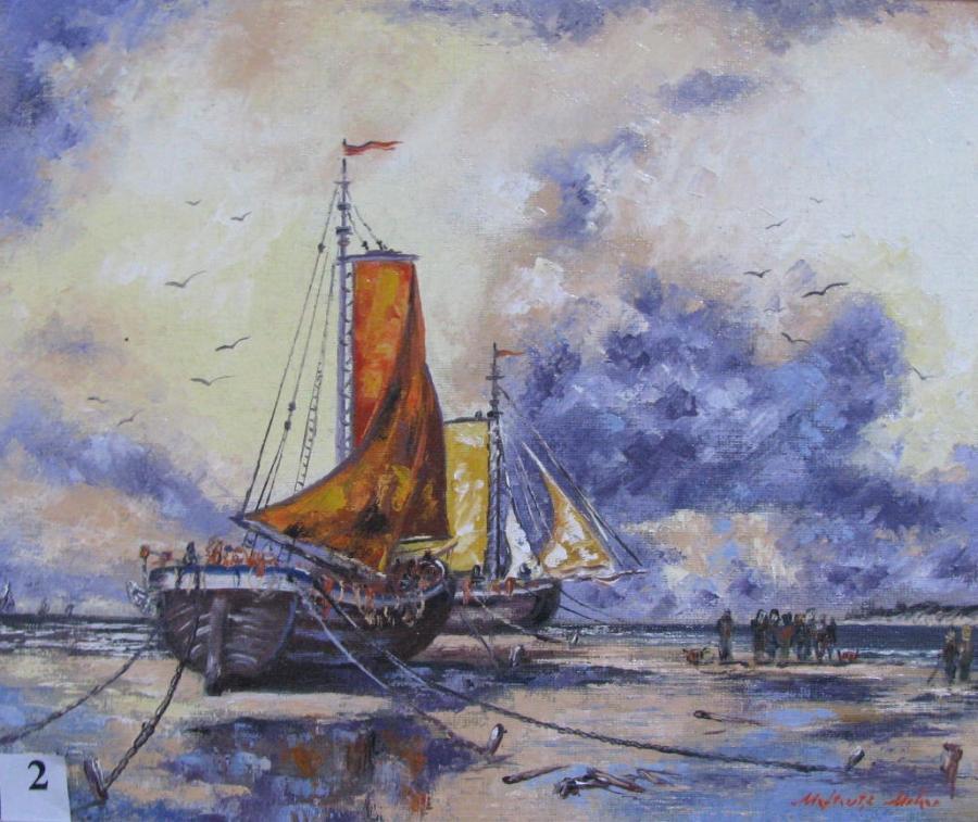 Picturi maritime navale Vase olandeze asteptand fluxul