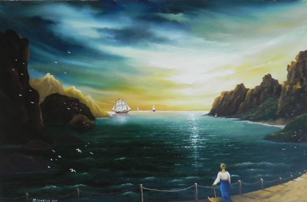 Picturi maritime navale Doamna pe faleza