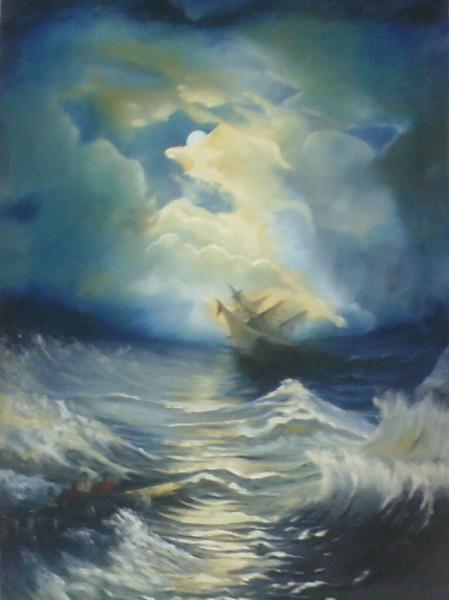 Picturi maritime navale Furtuna