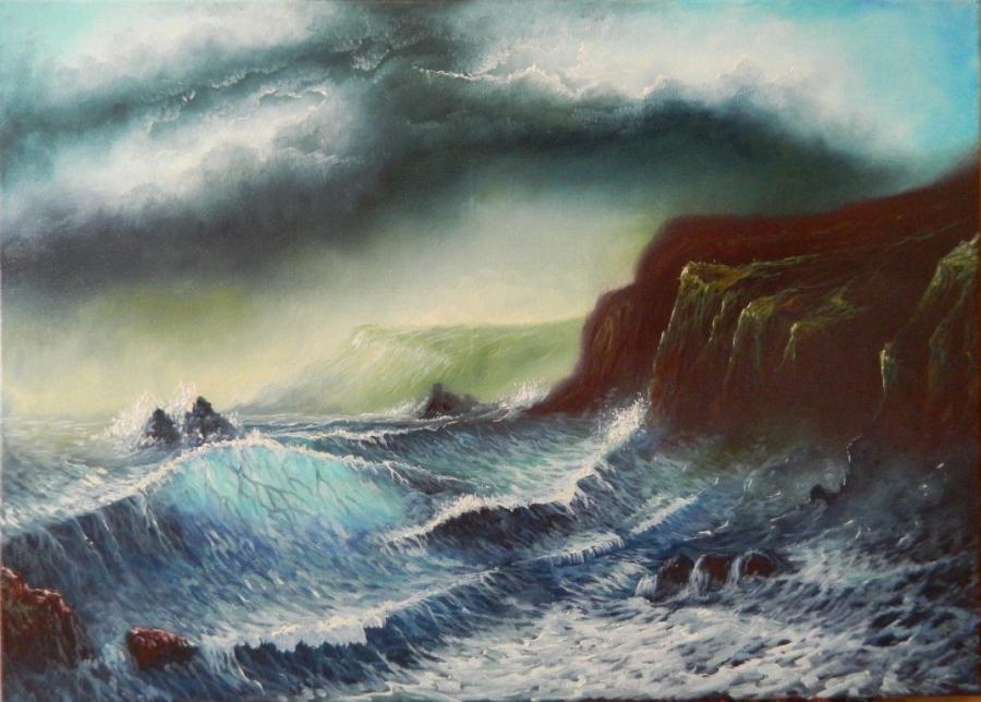 Picturi maritime navale mare involburata