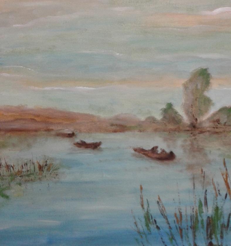 Picturi maritime navale dimineata pe lac