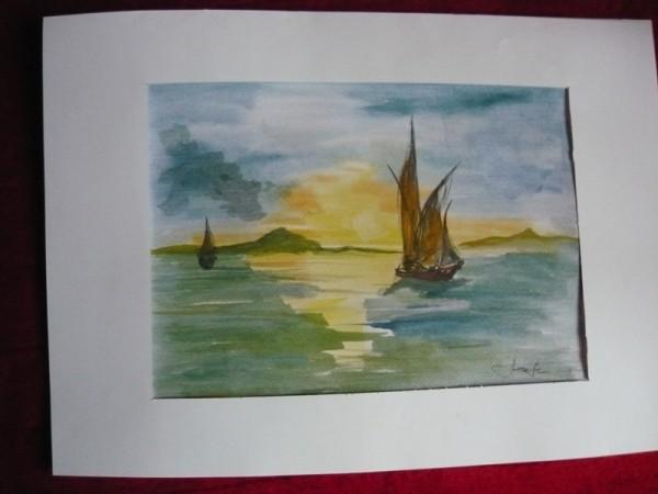 Picturi maritime navale Rasarit de soare