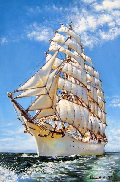 Picturi maritime navale Corabie navigand