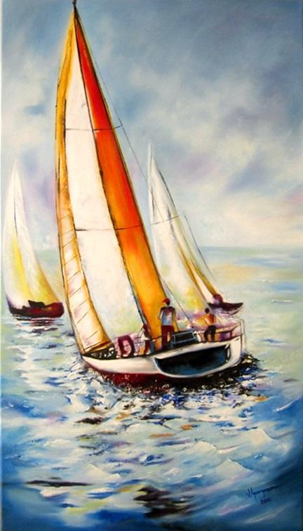 Picturi maritime navale Pe valuri