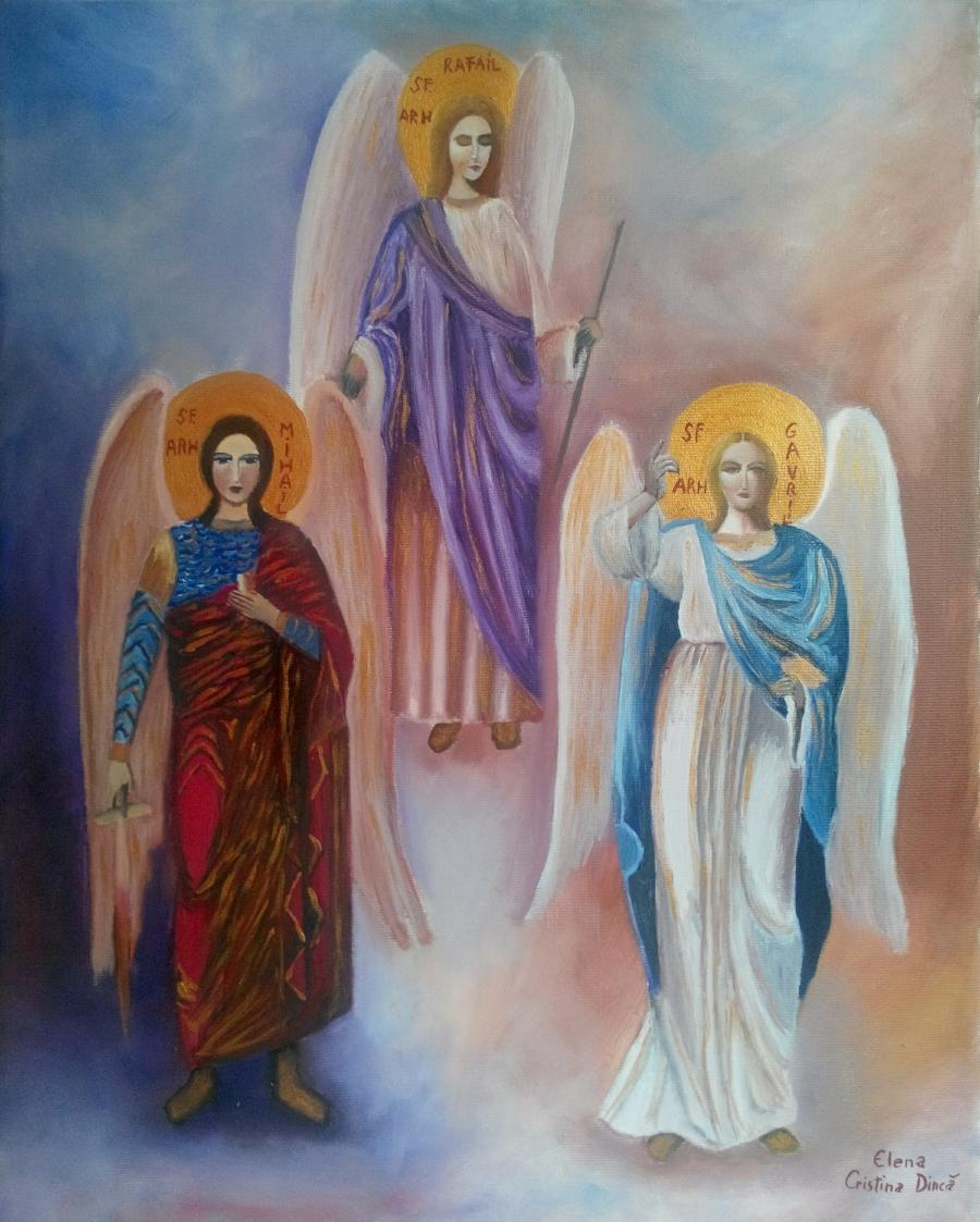 Picturi religioase Icoana Sf. Arhangheli Mihail, Gavriil si Rafail