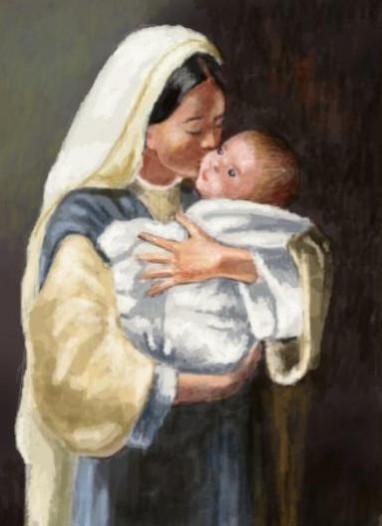 Picturi religioase Mama cu copil