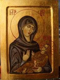 Picturi religioase Icoana maica domnului cu pruncul iisus