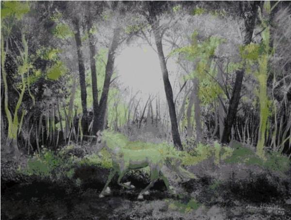 Picturi surrealism Inorogul verde