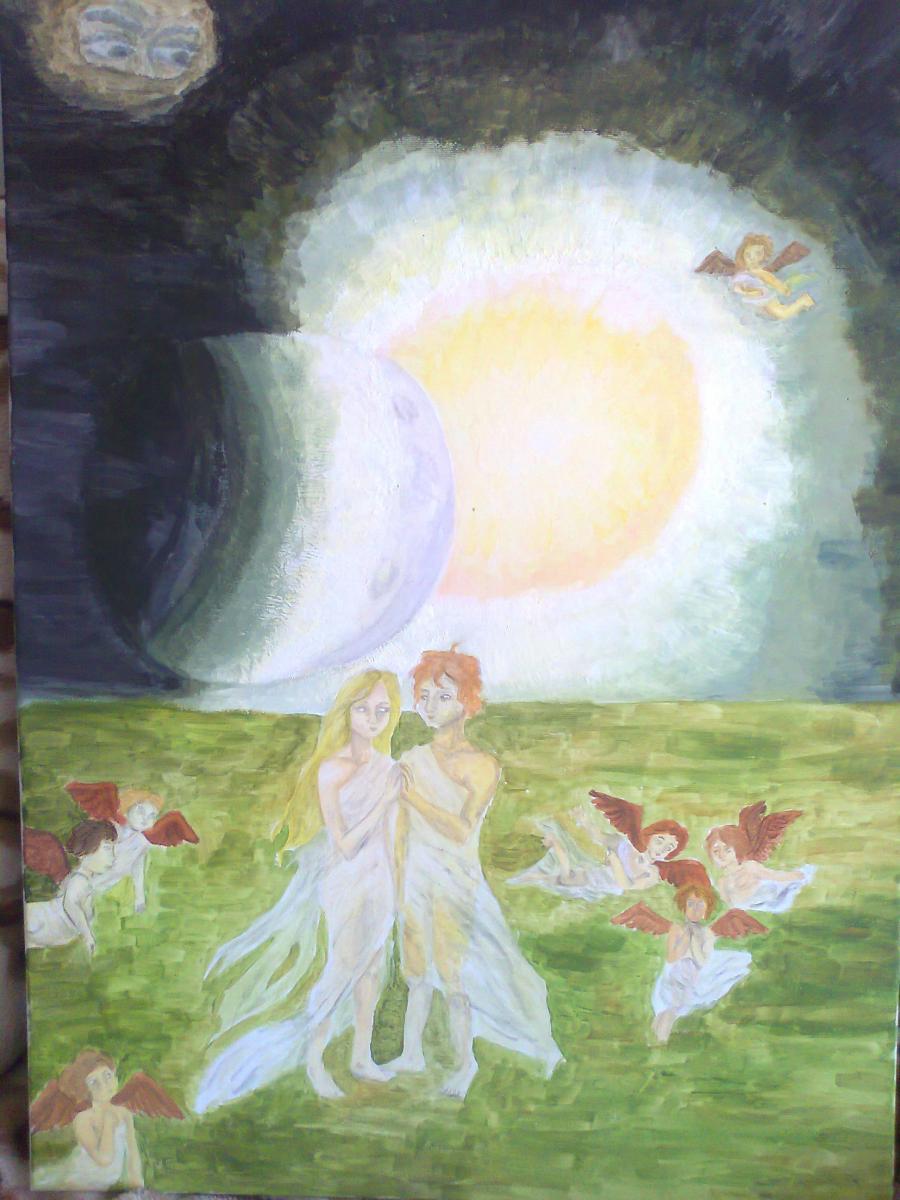 Picturi surrealism Fantastic - Locul unde Soarele şi Luna se întâlnesc