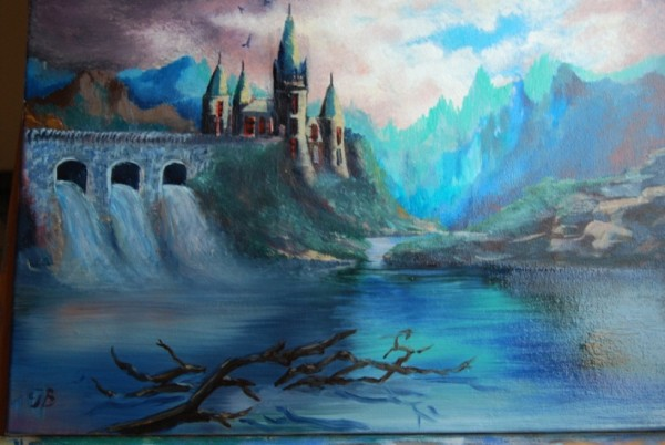 Picturi surrealism Dracula castle
