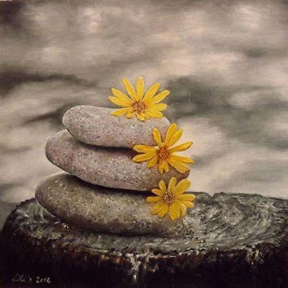Picturi surrealism Pietre cu galbenele