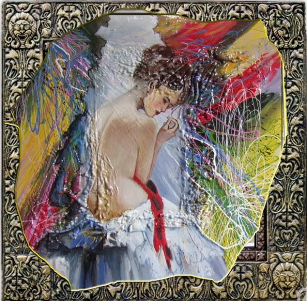 Picturi surrealism Nud in lumina zigurata--208
