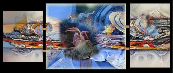 Picturi surrealism Triptic dans astral--221