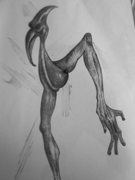 Picturi surrealism Pasarea spin neagra