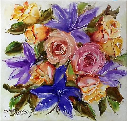 "titlu"" Trandafiri si clematis 6"" ulei"