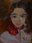 alte Picturi Fetita cu trandafir rosu