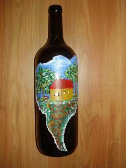 alte Picturi Sticla de vin pictata manual