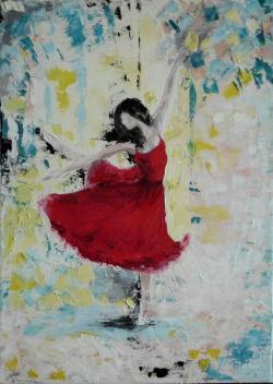 alte Picturi Ballerina in red