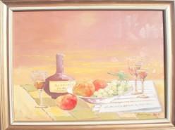 alte Picturi Sticla de cogniac cu fructe