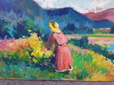 peisaj cu femei palarie