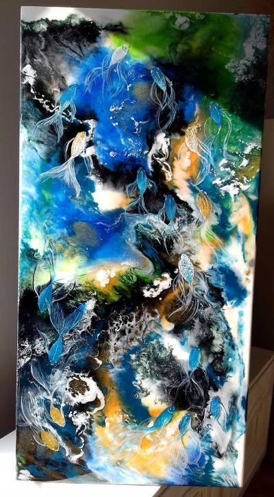 pictura abstracta ,acrilice si epoxidica