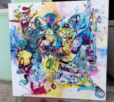 Picturi abstracte/ moderne Ploaie cu can