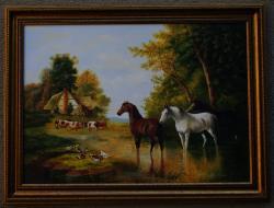 Picturi cu animale cai la margine de pad
