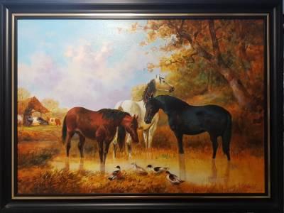 Picturi cu animale Peisaj cu cai