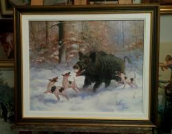 Picturi cu animale vanatoare de mistreti