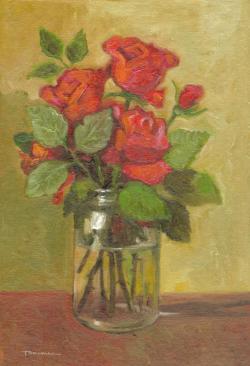 Picturi cu flori borcan cu trandafiri