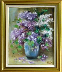 Picturi cu flori BUCHET DE LILIAC IN VAZ