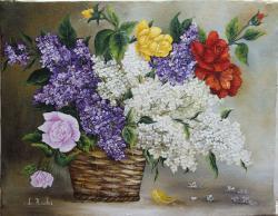 Picturi cu flori Cos cu trandafiri si li