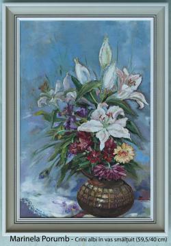 Picturi cu flori Crini albi in vas smalt