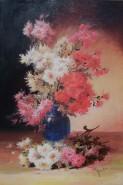 Picturi cu flori Crizanteme  in vas alba